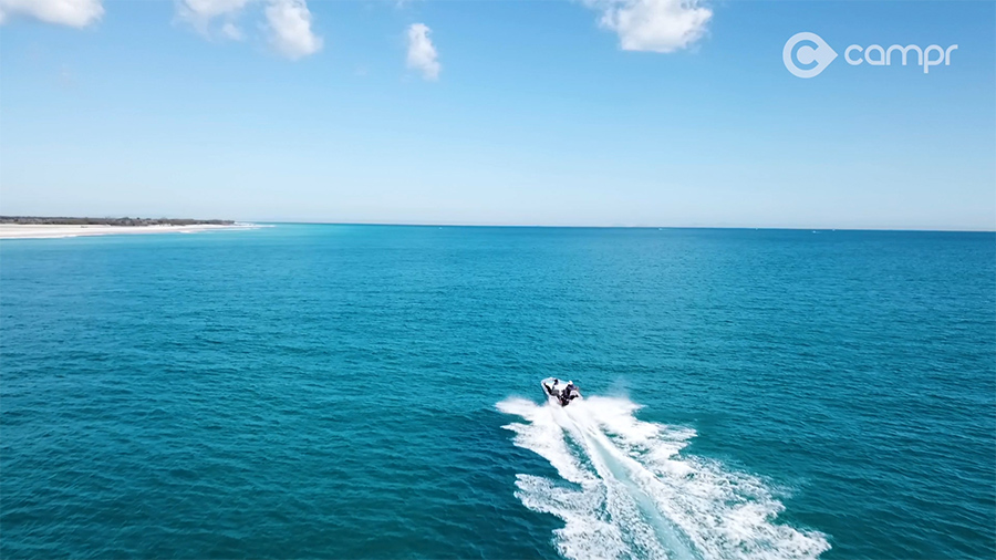 Boating across Moreton Bay to Moreton Island
